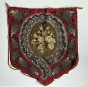 Antique Victorian Glass Beadwork And Needlepoint Fire Screen Panel For Pillow