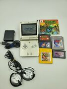 Nintendo Gameboy Advance Sp Ags-001 - Light Gold, Headphone,games And Oem Charger