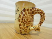 S.v.d. Clay Afrique 3d Giraffe Coffee Mug Cup Ceramic Hand Painted Neck Handle