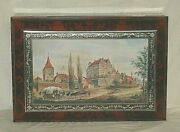 Vintage Lg. Litho Tin Box Hinged Lid Container European Landscape Country Scene