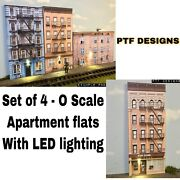 Built As One Piece - O Scale Apartment Set Of 4 Building Flats W/leds