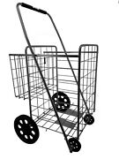 Utility Shopping Cart Foldable Jumbo Basket Outdoor Grocery And Laundry Black
