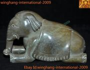 Old China Chinese Dynasty Hetian Jade Carved Lucky Wealth Animal Elephant Statue