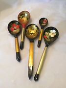 Vintage Lot Of 5 Wooden Floral Hand Painted Spoons