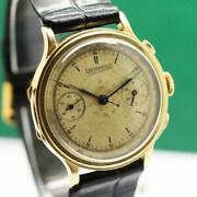 1940s Eberhard Pre-extra Fort 38.5mm 18k Gold Hinged Case Chronograph Mens Watch