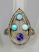 Antique 1920 5000 3ct Natural Purple Sapphire Opal 18k White Gold Filigree Ring