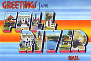 Greetings From Fall River, Massachusetts - 1930's - Vintage Postcard Poster