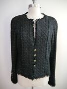 Black Silver Fantasy Tweed Quilted Front Jacket Blazer Size 42 Worn Once