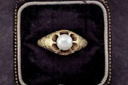 Stunning And Rare Antique Scottish 18k Gold Certified Natural Pearl Ring C1888