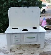 Antique Tin Metal White/cream And Green Oven Stove Toy Doll House 1930s Child Kid