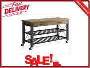 Kitchen Cart With Metal Shelves And Tv Stand Multi-functional Locking Wheels New