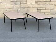 Pair Of Mid Century Modern 1950s Simmons Theme Unit Furniture Tables Benches