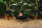 Wood Burning 35 Round Bronze Steel Fire Pit Bowl Spark Guard Screen Poker