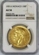 1901 A Gold Monaco 100 Franc Coin Ngc About Uncirculated 58 Albert I