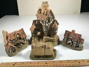 Group Of 4 David Winter Squires Hall The Bothy Meadow Bank Cottages Miniatures