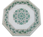 24 White Marble Coffee Table Top Malachite Floral Marquetry Inlay Decors H2305