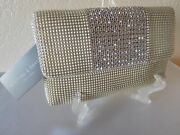 New Whiting And Davis Mesh Metal Crystal Pendant Clutch -retail 305.00