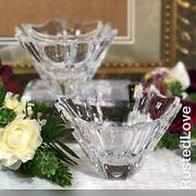 Crystal Orrefors Onion Bowl Signed Candle Holders Etched Neiman Marcus - 2