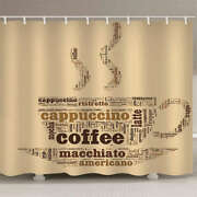 Coffee Cup Nice Letters 3d Shower Curtain Waterproof Fabric Bathroom Decoration
