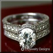 2.68 Ct Moissanite Oval Pave Forever One Ghi Antique Wedding Set Vintage Rings