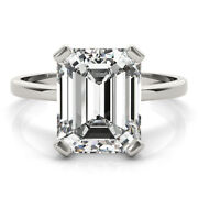 3.55ct Emerald Moissanite Forever One Def Solitaire Band Engagement Wedding Ring