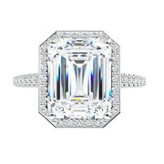 2.10 Ct Moissanite Emerald Forever One Halo Micro Pave Engagement Wedding Ring