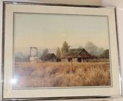 1970s Gene Speck Framed Rustic Barn And Farm Landscape Reproduction Print 12x 16