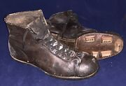Antique 1920's Stacked Leather Football Cleats Milwaukee Wisconsin Maker Early