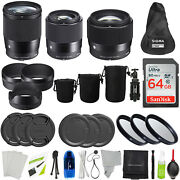Sigma 16mm 30mm And 56mm F/1.4 Dc Dn For Sony E + Essentials Accessory Bundle