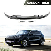Refit Front Bumper Lip Splitter Fit For Porsche Cayenne 2018-2019 Carbon Fiber