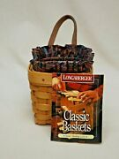 Longaberger 1996 Chives Booking Basket W/ Liner, Protector And Certificate