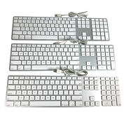 Lot Of 3 Genuine Apple A1243 Wired Aluminum Keyboard With Numeric Keypad Usb
