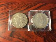 Two - 1880 Morgan Silver Dollars. 1st Marked Andnbspo 2nd No Makers Mark. See Photos.
