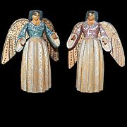Pair Of 6 In Tall Hand Painted Carved Wooden Primative Folk Art Christmas Angels