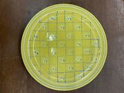 Vintage Pacific Pottery Dinner Plate 613 Yellow W/ White And Blue Flower Pattern