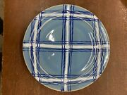 Vintage Pacific Pottery Dinner Plate 613  Blue With Cobalt White Plaid Pattern