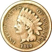 1860 1c Pointed Bust Indian Head Cent Vg K10478