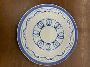 Vintage Pacific Pottery Dinner Plate 613 White With Cobalt Pattern