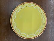 Vintage Pacific Pottery Dinner Plate 613 Yellow With White Maroon Pattern