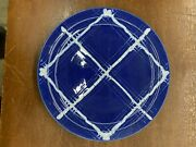 Vintage Pacific Pottery Dinner Plate 613 Cobalt W/ White Plaid Pattern Ca