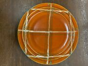 Vintage Pacific Pottery Dinner Plate 613 Orange W/ Green White Plaid Pattern