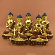 Hand Carved 24 K Gold Gilded Dhyani Buddha Copper Statues Set From Patan Nepal