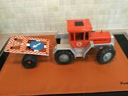 Vintage Gama Mb Trac 1300 Tractor Mercedez Benz Scale 124 + Trailer