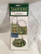 Traditions Mini Painted Wood Craft Lodge Fishing Signs 1.5andrdquo