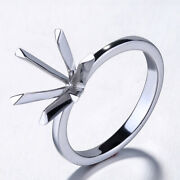 10k White Gold Round 9mm Solitaire Six Prongs Semi Mount Engagement Polish Ring