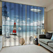Yellow Shell Sailboat Part Seaside Printing 3d Blockout Curtains Fabric Window