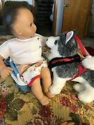 American Girl Bitty Baby Doll Potty With Sounds Ag Husky Dog Free Shipping