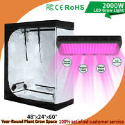 2000w Led Grow Light Kit W/ 4and039x2and039 Hydroponic Indoor Grow Tent Plant Grow Box