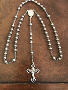 """Antique Art Deco Sterling Silver Beads Rosary 21 Grams 22"""" With 6"""" Drop To Cross"""