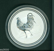 2005 10 Australia Lunar Series I Zodiac Year Of The Rooster 10 Oz. Silver Coin
